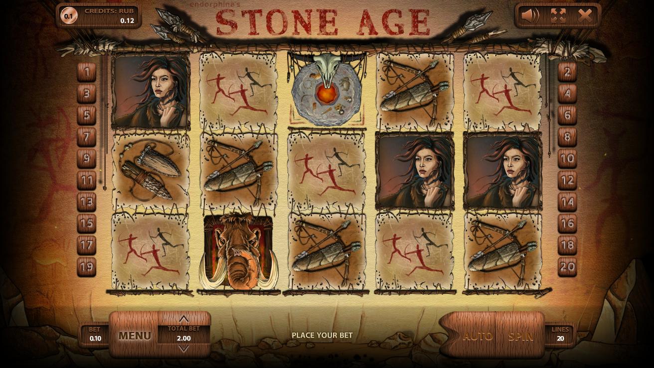 Общий дизайн и основная информация о слоте Stone Age