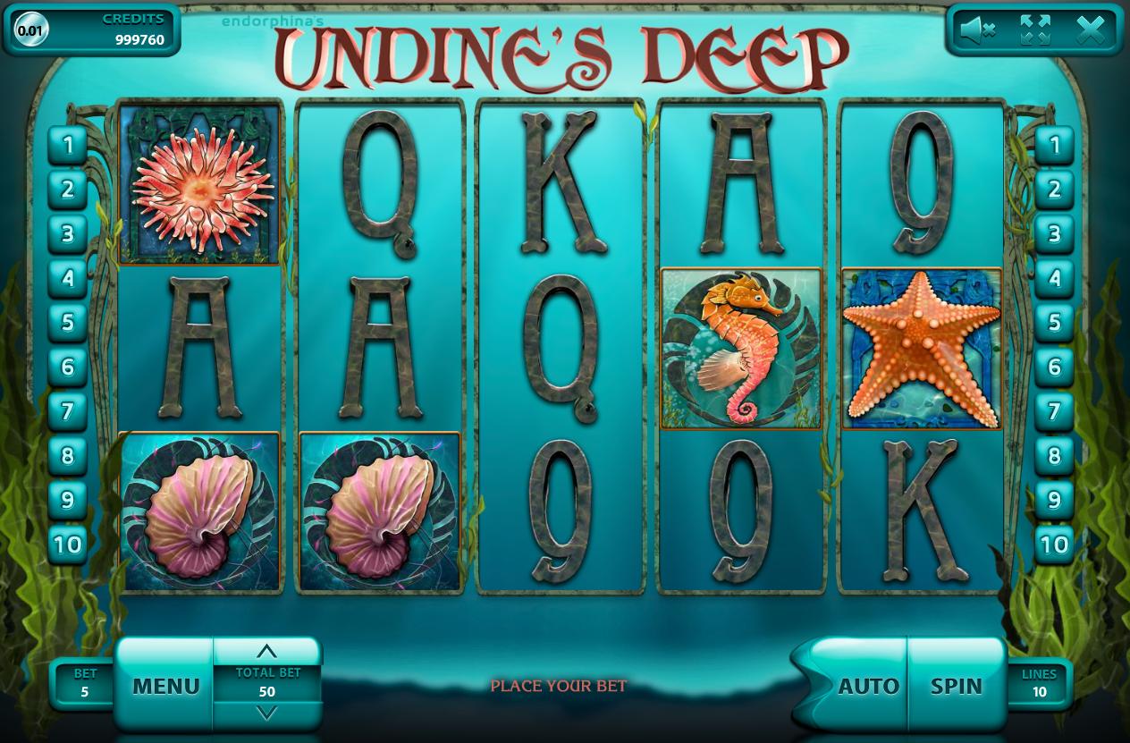 Общий дизайн и основная информация о слоте Undines's deep