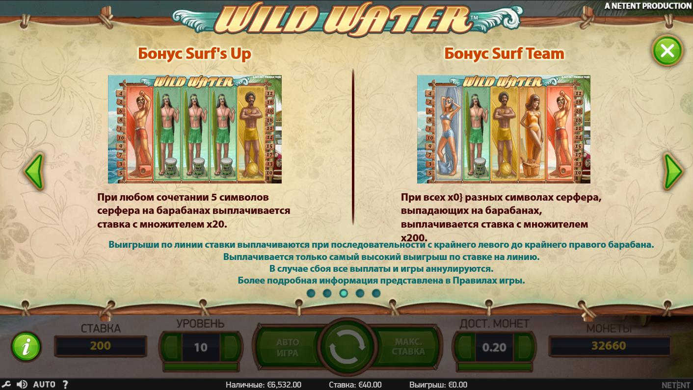 Бонусные функции игрового автомата Wild water