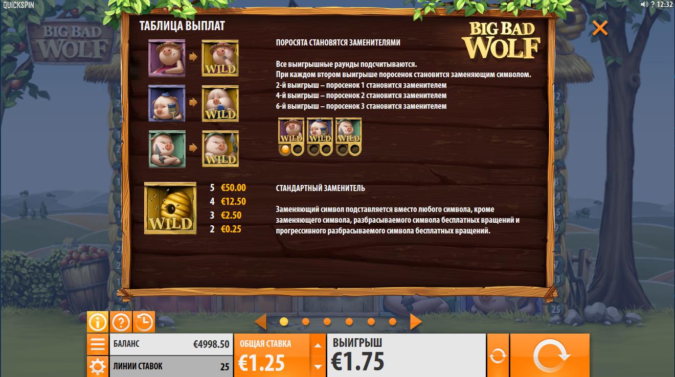 Бонусные функции игрового автомата Big Bad Wolf