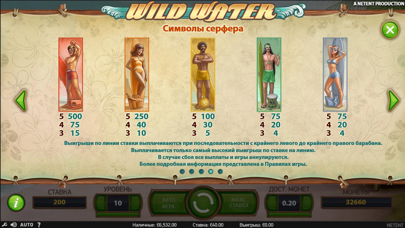 Общий дизайн и основная информация о слоте Wild water