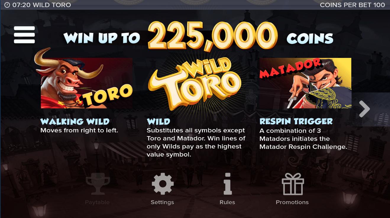 Бонусные функции игрового автомата Wild toro