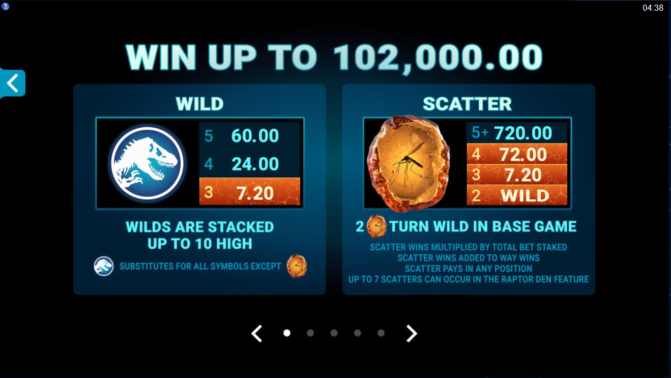 Бонусные функции игрового автомата Jurassic World