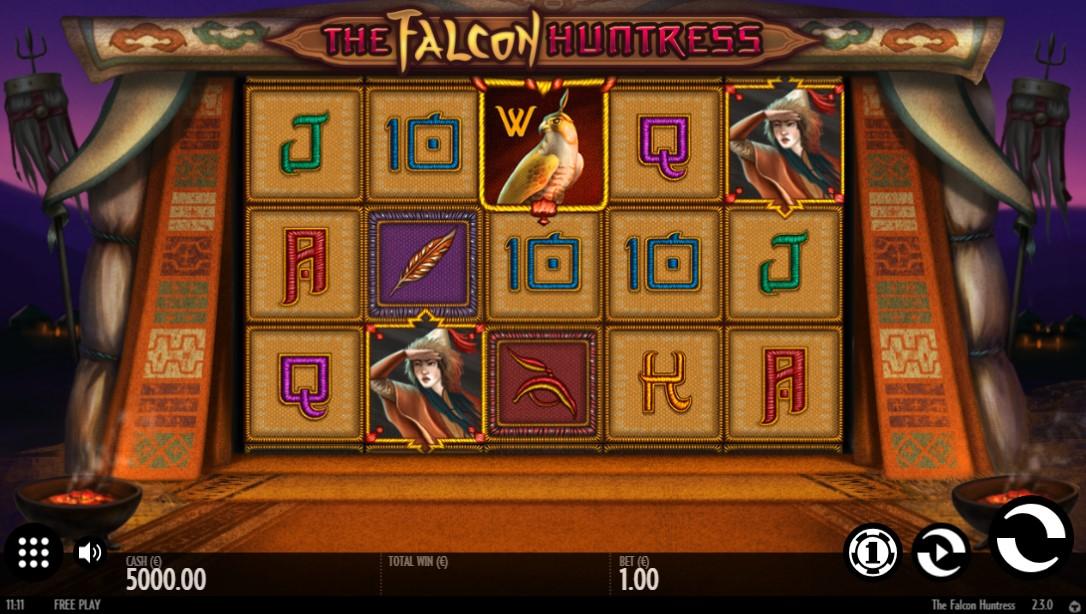 Общий дизайн и основная информация о слоте The falcon huntress