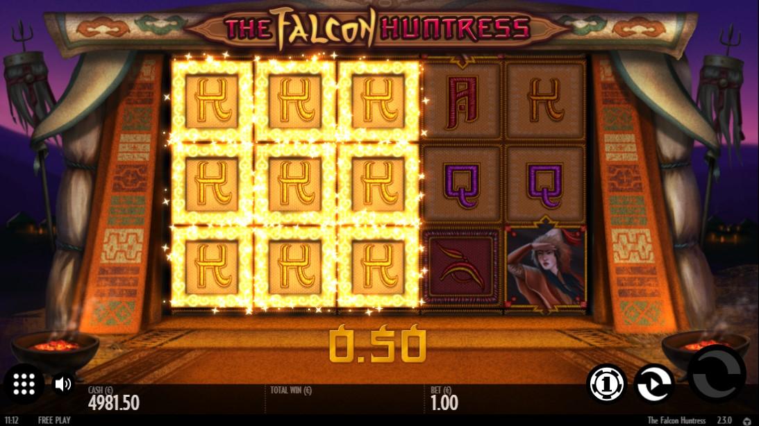 Бонусные функции игрового автомата The falcon huntress