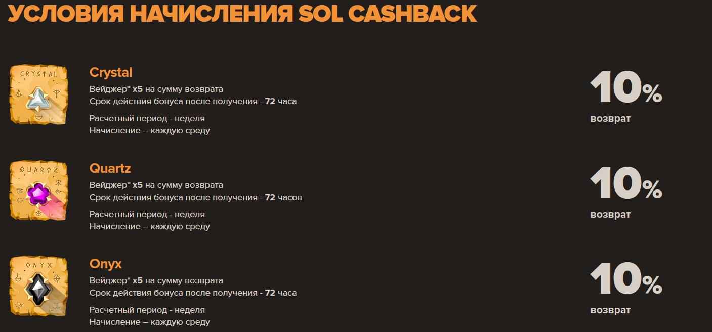 Активируй свой Cashback бонус в Sol Casino